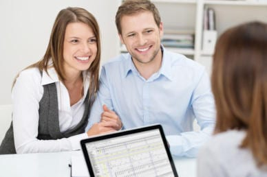 Attractive young couple in a meeting